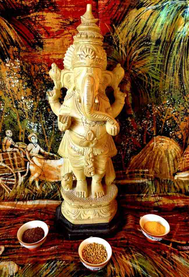 Ganesh being worshipped at home