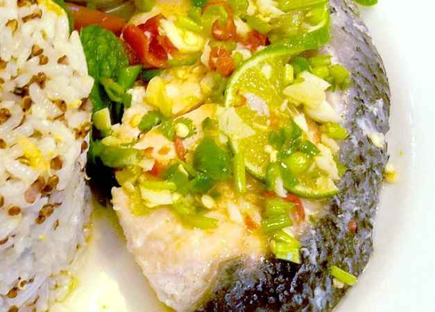 steamed fish with a Mauritian inspired sauce