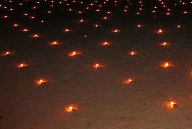 Diwali lights on the beach