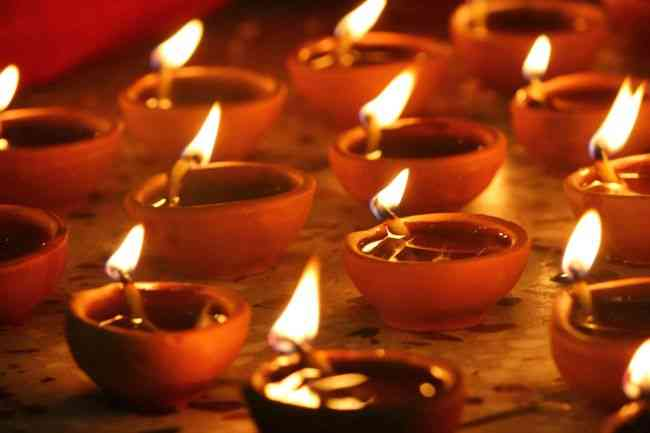 oil lamps during Diwali