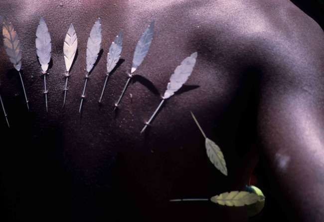 Body piercing during Thaipoosam festival in Mauritius