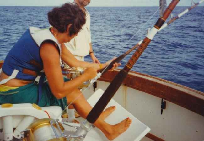 Fighting chair on deep sea fishing charter