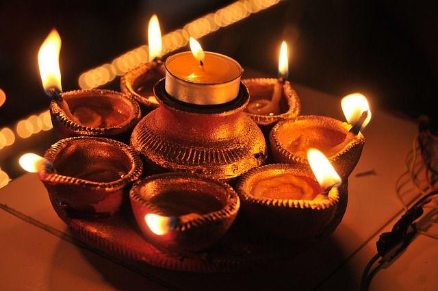 Lamp display during Diwali