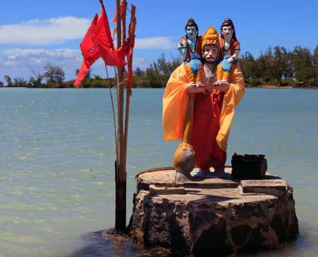 Hanuman Hindu god on his island