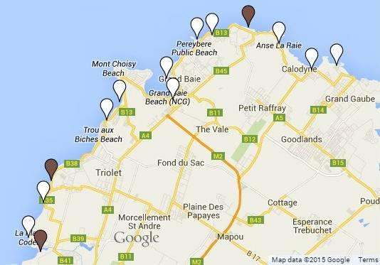 Mauritius Beach Map - North Coast