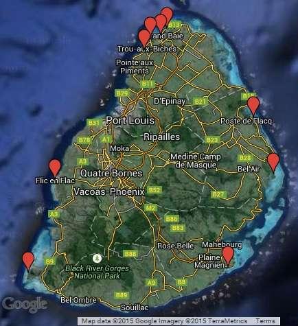 Mauritius Beach Map