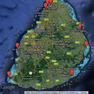 Mauritius beach map satellite view