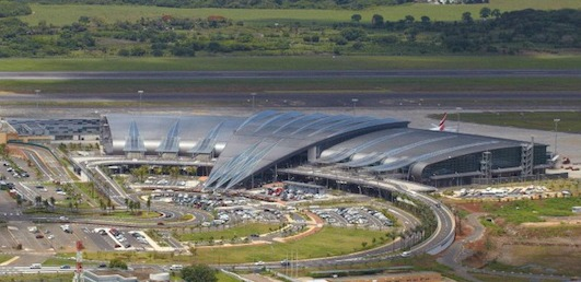 Aerial view of Mauritius airport