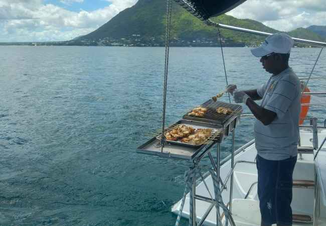 Barbecue lunch on board a catamaran