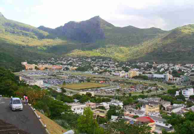 view over Champ de Mars race course from the Citadel Fort Adelaide Port Louis