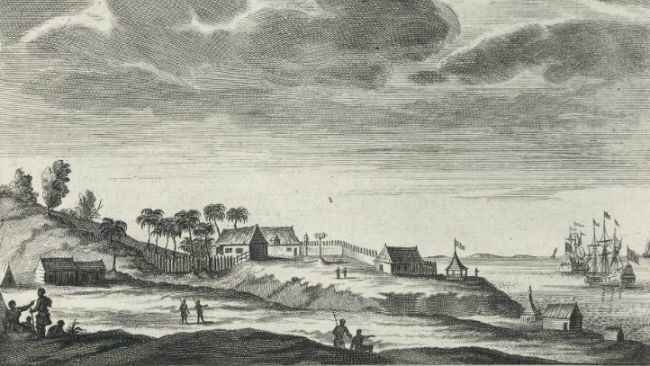 Engraving of first Dutch settlement in Mauritius