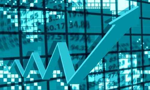 Mauritius economy with arrow pointing upwards