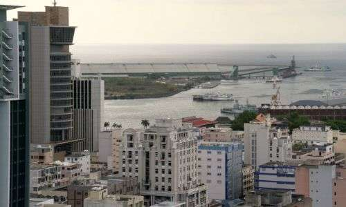 View of Port Louis with harbour and the Bank of Mauritius Tower on the left