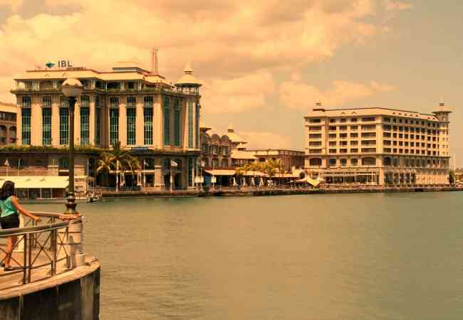 Port Louis waterfront at sunset