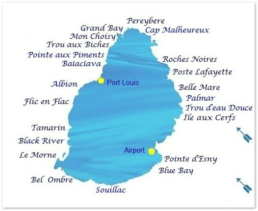 Mauritius map for beach weather