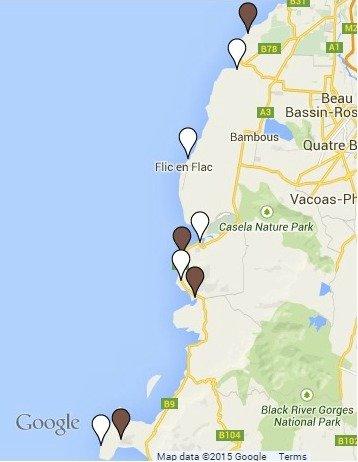 Mauritius Beach Map - West coast