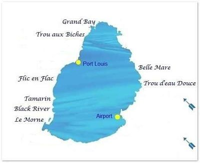 Deep sea fishing map Mauritius
