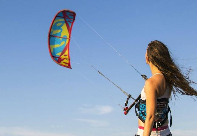 Woman kitesurfer
