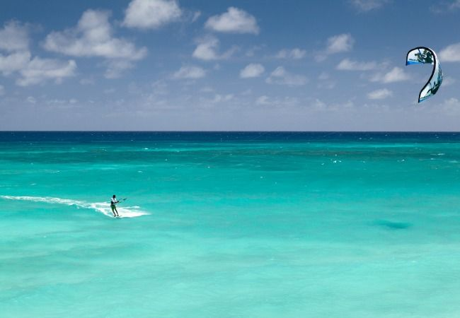 kitesurfing in turquoise lagoon