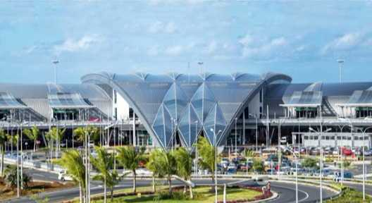 Front view of Mauritius airport