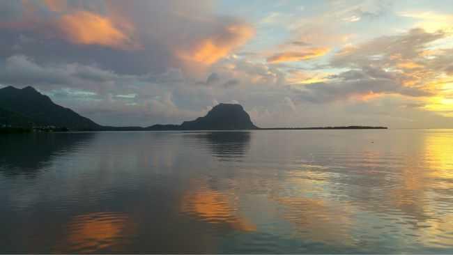 sunset at Le Morne Mauritius