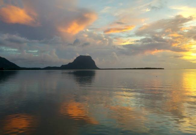 Le Morne mountain at sunset